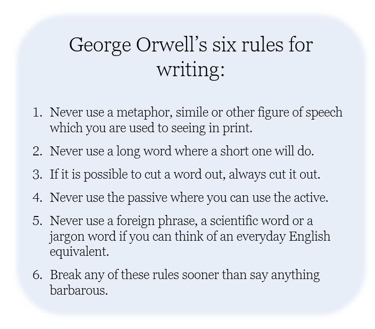 George Orwell's six rules for writing - Friday G&T Gallery